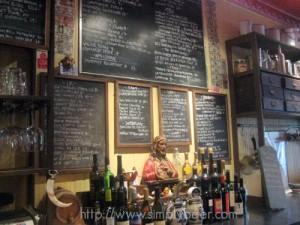 Board menu of Beers