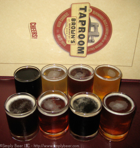 The Flight from left to right, bottom to top - Brown Ale, Pale Ale, Oatmeal Stout, Cherry Raspberry Ale, Porter, Pilsner, ESD, Golden Rye