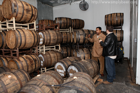 Garrett Oliver and I checking out the Dark Matter aging in Bourbon Barrels