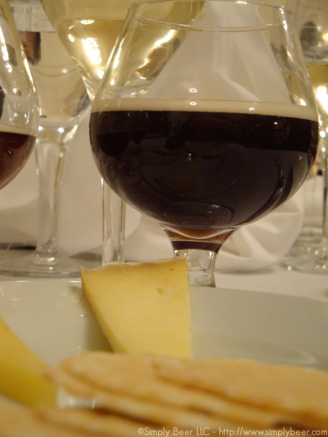 "Cheese Course(right): Queso del Invierno, a winter cow/sheep tomme cheese Paired with Vin de Savoie ""Abymes"" Labbe 2008 and Brooklyn Local 2. The big winner hear was the beer, it fit the texture and flavor of the cheese wonderfully"