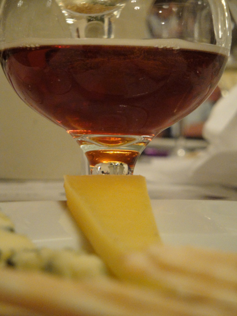 Cheese Course (middle): Pleasant Ridge Reserve, a cow Alpine cheese paired with Pavese Morgex et de la Salle 2008 and Brooklyn Monster Ale 2008.  This beer is awesome, but I thought the wine was actaully a better fit with the cheese.