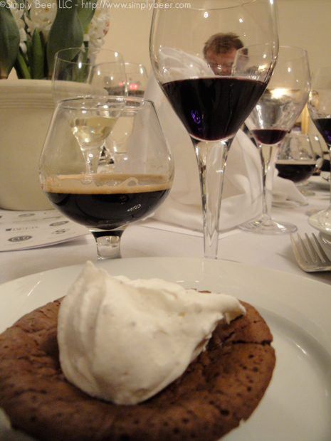 "Desert Course: Chocolate Flourless Cake with Peppercorn whipped Cream paired with Vinedo de los Vientos ""Alcyone"" Tannat Dessert Uruguay NV and Black Ops 2009.  Hands down Black Ops was teh clear winner.  Unfortunately the peppercorns really blasted the wine, while teh Black Ops was able to handle the spice quite well."
