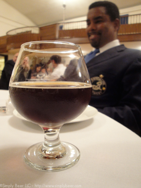 One of my favorite beers, Dark Matter pictured with Garrett Oliver, with whom I was lucky eough to be seated next to for the dinner.