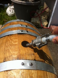 Filling barrel with hot water